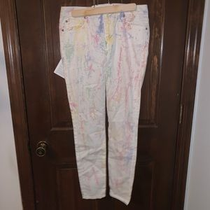 7 For All Mankind Batik White Rainbow Skinny Pants